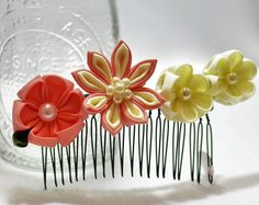 PEINE del pelo flor: Flor rosa peine peine por LilsHandmadeGarden