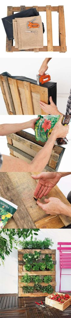 Pallet Garden Stand, Pics are good to show how to make it bc not English. This one has a fabric? dirt contained inside, plant seeds, when done, plant grow thru pallet boards. NICE!