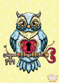 Owl With a Key Illustration, by Ella Mobbs, on Etsy