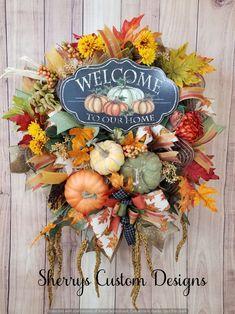 Wreaths For Sale, How To Make Wreaths, Wreaths For Front Door, Door Wreaths, Wreaths Across America, Artificial Pumpkins, Fall Door, Thanksgiving Wreaths, Fall Halloween