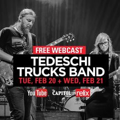 """Tedeschi Trucks Band (@derekandsusan) on Instagram: """"#Webcast alert: tune in on Tuesday and Wednesday nights for a free live stream of TTB's concerts at…"""""""