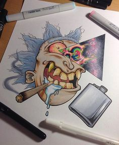 drawings - Psychedelic Art on Badass Drawings, Cool Art Drawings, Art Drawings Sketches, Cartoon Sketches, Pencil Art Drawings, Tattoo Drawings, Graffiti Art, Graffiti Drawing, Psychedelic Art