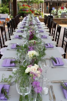 Guest Tables were designed as Tuscan feasting tables with beautiful mixed blosso. Guest Tables were designed as Tuscan feasting tables with beautiful mixed blossom and candle accent Flower Centerpieces, Wedding Centerpieces, Wedding Decorations, Reception Table, Wedding Table, Party Tables, Wedding Locations, Wedding Themes, Purple Wedding