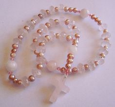 Anglican Rosary Pearl, Rose Quartz, Prayer Beads, Pearl Rosary, Rosary, ladies or young lady Gift, on Etsy, $30.00