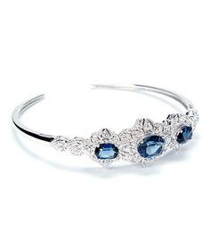Montana Blue Sapphire & Cubic Zirconia Sterling Silver Cuff
