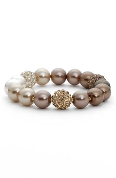 Main Image - Anne Klein Faux Pearl Stretch Bracelet