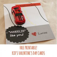 "Free Printable Kid's Valentine's Day Cards: I ""WHEELIE"" Like you!"