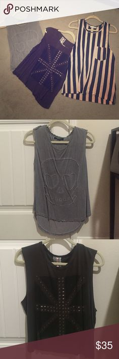 Muscle tank bundle Gray skull tank from foreign exchange size medium. Dk gray slighty cropped stud tank size medium (label is Mauve). Blk/taupe vertical stripe tank size L (label is Daydreamer). Foreign Exchange Tops Tank Tops