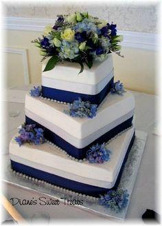 Blue Silver Square Wedding Cakes Photos & Pictures - WeddingWire.com