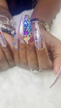 FreeStyle with Bling and Rhinestones by Elaine at NAB Nail Bar Las Vegas Book Today Text or call 702-577-1680 www.nabnailbar.com