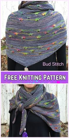 Knit Bud Stitch Free Knitting Pattern BY Melanie berg (Lehigh) and tutorial of Bud stitch by urbanwife Shawl Patterns, Knitting Patterns Free, Free Knitting, Crochet Patterns, Knitting Ideas, Knitting Blogs, Loom Knitting, Tricot Harry Potter, Knitted Poncho