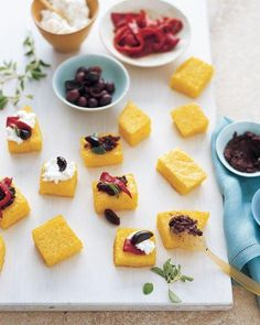 Baked Polenta Squares with Mediterranean Toppings Recipe