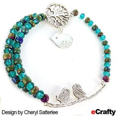 TUTORIAL: Recently, Cheryl made this sweet beaded bracelet using a few of our bird and tree charms and connectors, along with glass spacers, all from eCrafty.com. #bird #bracelet #diybracelet #diyjewelry #jewelrysupplies #beads #crafts #ecrafty #beachglass #seaglassbeads #diygifts #campcrafts #camp #crafting #blue #green #silver Glass Jewelry, Beaded Jewelry, Jewelry Bracelets, Jewelry Crafts, Jewelry Ideas, Camping Crafts, Jewelry Supplies, Jewelry Making, Charmed