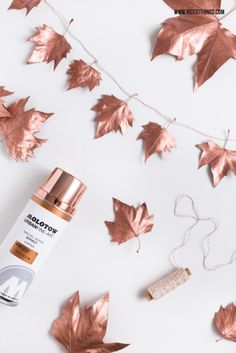 Awesome DIY Copper Projects for Your Home Decor Copper Leaf Garland / Copper spray paint + leaves make for a gorgeous garland.Copper Leaf Garland / Copper spray paint + leaves make for a gorgeous garland. Fall Crafts, Diy And Crafts, Copper Spray Paint, Gold Spray, Metallic Paint, Metallic Gold, Deco Nature, Creation Deco, Ideias Diy