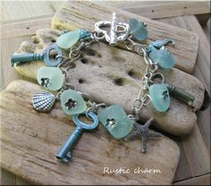 Sea glass, sea charms bracelet  £25.00
