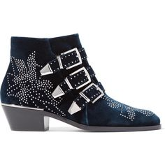 Chloé Susanna studded velvet ankle boots ($1,435) ❤ liked on Polyvore featuring shoes, boots, ankle booties, navy, navy blue ankle boots, velvet booties, navy blue booties, zip ankle boots and velvet ankle boots