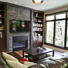 Brick Fireplace With Tv Design Ideas, Pictures, Remodel, and Decor - page 12