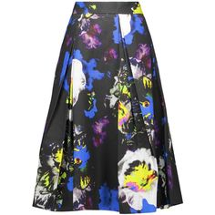 Milly Lana pleated printed cotton-blend midi skirt featuring polyvore, women's fashion, clothing, skirts, multi, multicolor skirt, colorful midi skirts, mid calf skirts, multi color skirt and multi colored skirt