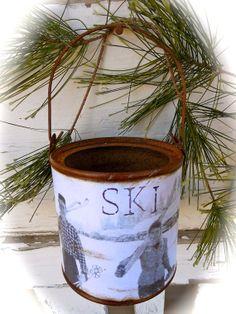 Sweethearts Skiing  Ski Décor  Rusty Tin by shabbychicskiboutiq, $12.00