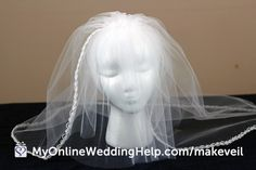 How to Make a Wedding Veil With Comb, Step 5 - My Online Wedding Help. Wedding Planning Tips & Tools to Plan Your Wedding Simple Wedding Veil, Wedding Veils, Bridal Veils, Wedding Hair, Bridal Hair, Wedding Bouquets, Wedding Costs, Plan Your Wedding, Wedding Ideas