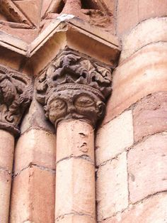 The 12th century masons show this greedy king trying to eat the column below him. West door of Ledbury Church. Philip Weaver (13.8.14).