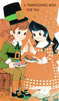 Pilgrim anomalies aside, the Vegan is a fan of this cutest ever vintage card.