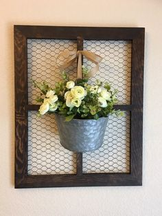 Window Frame with Lambs Ear Wreath, Chicken Wire Frame, Farmhouse Wall Decor, CountryDecor,Rustic Wa Country Wall Decor, Farmhouse Wall Decor, Rustic Wall Decor, Country Chic, Patio Wall Decor, Rustic Farmhouse, Farmhouse Style, Chicken Wire Crafts, Chicken Wire Frame