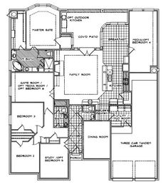 "Like this ""Fairview"" floorplan by Streetman Homes.  Lot where I wish to build requires side-entry garage, however.  Space labeled as ""Media/Opt Bedroom 4"" would be MIL suite with attached bath.  However, I would prefer that MIL suite switch and 3-car garage swap, so side-entry garage is towards the back of the house...MIL suite to the right of DR?"