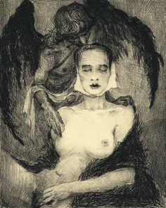 "carga-de-agua: ""Bernd Streiter, for Georg Trakl, with Black Angel drypoint, German artist. Georg Trakl, Gravure Photo, Black Angels, Art Carved, Dirty Dancing, Parkour, Erotic Art, Dark Art, Printmaking"