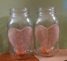 DIY Rustic wedding quart mason jars with burlap hearts each containing a citronella votive candle x 11  (1-2 per table)