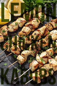 *** Grilled Lemon Chicken Kabobs are a fun addition to your barbecue dinner. They're delicious and so easy to make! Chicken is marinated in sour lemon and savory herbs, then skewered and grilled to perfection. Grilled Lemon Chicken, Grilled Chicken Kabobs, Grilled Meat, Turkey Recipes, Chicken Recipes, Kabob Recipes, Entree Recipes, Lemon Recipes, Primal Blueprint Recipes