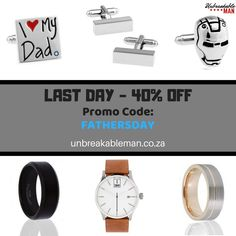 Fathers' Day Sale - 40% OFF - Last Day  😮  Tungsten Rings - Watches - Cufflinks - Tie Pins - Belts - More  #ChampionDads #LastDay #FathersDayGifts #UnbreakableMan #TungstenRings #MensRings #Cufflinks #LapelBadges #LapelPins #Engraving #LeatherBelts #Watches #CrossPens #FacialConditioner #Engaged #WeddingPlanningBlog #WeddingPlanning #WeddingExpo #Wedding #Groom #Bride #Groomsmen #Bridesmaids #FashionAccessories #Gifts #GiftsForMen #AnniversayGifts #Birthday #Gift #GiftIdeas