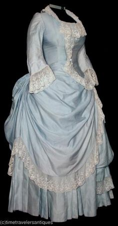 Blue Silk Bustle Dress, Early Bustle, with Embroidered Net Lace Time Travel Costumes