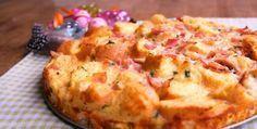broodtaart met ham, kaas en ei