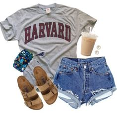 A fashion look from July 2016 featuring short denim shorts, evening sandals and brown glasses. Browse and shop related looks. Cute Lazy Outfits, Cute Outfits For School, Teenage Outfits, Sporty Outfits, Teen Fashion Outfits, Athletic Outfits, Outfits For Teens, Cool Outfits, Skater Outfits