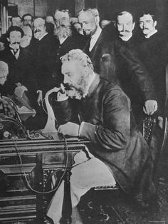 size: Premium Photographic Print: Alexander Graham Bell Inaugurating the New York Chicago Telephone Line While Others Look On : Subjects Alexander Graham Bell, Telephone Line, Happy Canada Day, Popular People, Historical Pictures, Worlds Of Fun, Photographic Prints, Old Photos, Vintage Photos