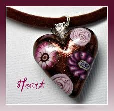polymer clay heart pendant - Google Search