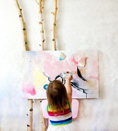 You haven't seen a creative kids' toy like this before — disguised as a piece of abstract art and equipped with magnet-backed shapes in felt and painted paper that can be arranged and rearranged endlessly. #etsykids
