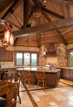log house kitchen with amazing ceiling