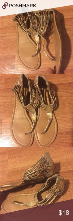 "Gold rhinestone sandals These have been worn and show signs of wear on bottom of shoes but still a great pair of sandals that can add spice to any outfit. These are so versatile and comfy. There is a 1/2"" wedge. Used brand for exposure. Vince Camuto Shoes Sandals"