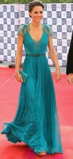Fashion V-Neck Beaded Sash Chiffon Floor Length Kate Celebrity Dresses Short Sleeve Ruffles Lace Green Long Evening Gowns E080