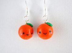 Items similar to Orange Dangle Earrings - Kawaii Charms on Etsy Cute Polymer Clay, Polymer Clay Charms, Polymer Clay Creations, Polymer Clay Earrings, Funny Fruit, Orange Bird, Sterling Silver Earrings, Dangle Earrings, Esty