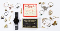 """Lot 276: 18k, 14k and 10k Gold Jewelry Assortment; Including necklaces, rings, charms, tie tacks, pendants and dental gold, most marked; together with a ladies Movado """"Museum"""" wrist watch"""