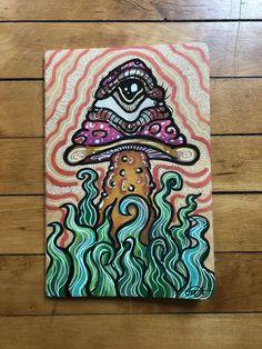 Indie Drawings, Trippy Drawings, Psychedelic Drawings, Art Drawings, Cute Canvas Paintings, Small Canvas Art, Mini Canvas Art, Hippie Painting, Trippy Painting