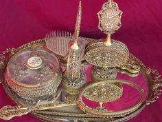Vintage 1920 Vanity Set Gold Filegree Tray, Mirror, Brush, Comb, Perfume, Powder