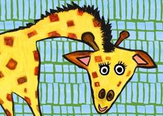 Create a zoo with emily green's bright animal wall art! Now you can bring home this smiling giraffe as a new pal for your explorer-in-training. They'll love all of the bright colors and patterns on this canvas wall art for kids.