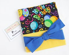 HAPPY BIRTHDAY Pillowcase with YELLOW Fabric & Tag . . . $15 . . . Perfect for SLEEPOVERS!  Wrap your gift in it too! . . . by SEWING the ABCs. PIN IT to FIND IT!