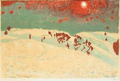 Sunset in a snowy landscape, 1950 by Cuno Amiet. Expressionism. landscape
