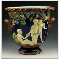Copeland Majolica Jardiniere with Classical Figures in white relief, set in a landscape