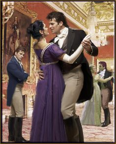 There is something seriously wrong here. Wait is this 1815? NO body contact during dancing! Faux pas. Oh and the mullet hairstyle. No no. Should be a Corinthian.